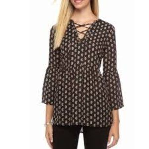 Sunday in Brooklyn Printed Bell Sleeve Blouse Top
